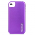 BASEUS Protective Aluminum Alloy Back Case w/ Screen Guard Film for Iphone 4 / 4S - Purple