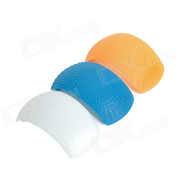 3-Color Pop-Up Flash Bounce Diffuser Cover kit for DSLR Camera - White + Blue + Orange