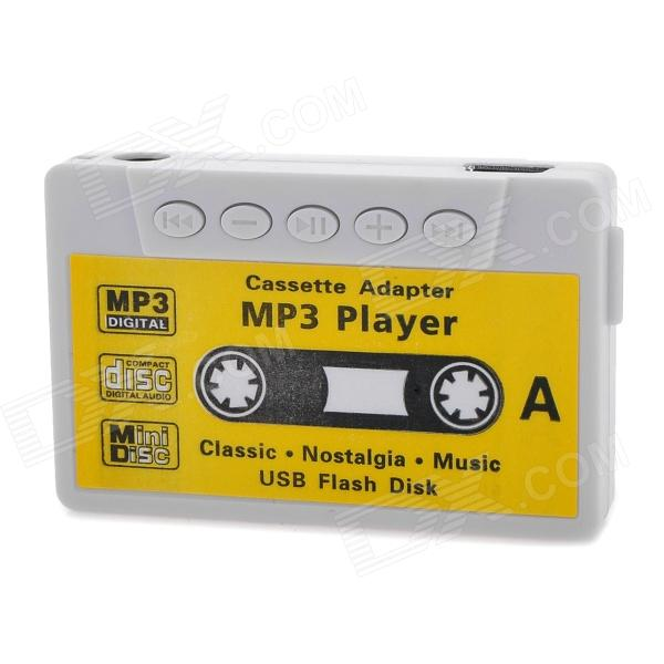 Tape Style USB Rechargeable MP3 Player w/ 3.5mm Audio Jack + TF Slot + Earphones - White