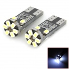 LY154 T10 1.2W 84lm 10-SMD 1206 LED White Light Decoding Car Lamps - (DC 12V / 2 PCS)