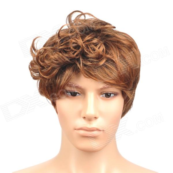 Fashion Short Curly + Tilting Fringe Hair Wig for Men - Auburn