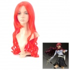 Cosplay Fashion Lady's Diagonal Bangs Long Curly Hair Wig - Red