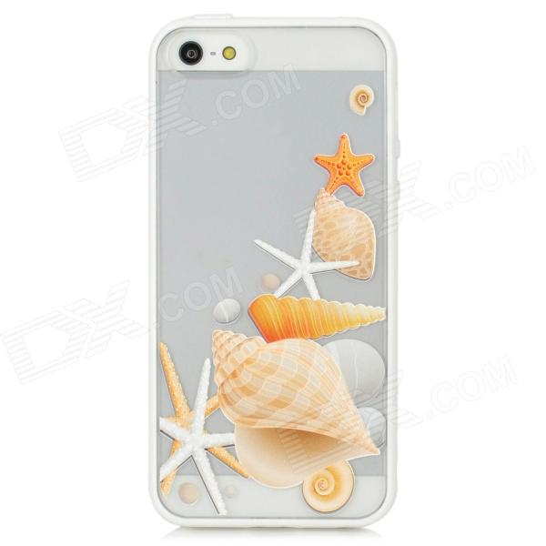 Colorfilm Relief Underwater World Style Protective Plastic Back Case for Iphone 5 - White + Yellow