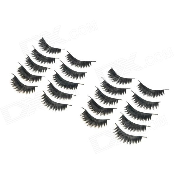 ZX-035 Decoration False Curled / Straight Eyelashes for Beauty Makeup Set - Black (10 Pair)