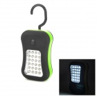 Multi-Function 2-Mode 28-LED White Light Outdoor Lamp w/ Rotational Hook - Black + Green (3 x AAA)