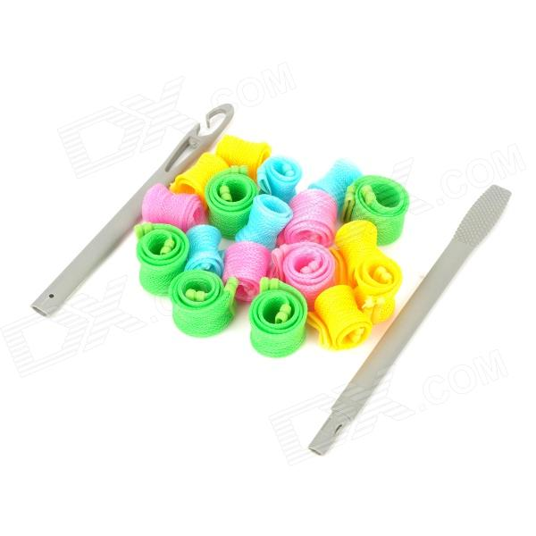 Plastic Hair Curlers + Curling Rod - Yellow + Green + Pink + Blue dilan cj 208 37 in 1 plastic sponge buckle hair curler tool blue purple pink
