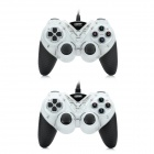 KD 900B Dual Shock Wired PC Game Joypad Controllers - Black + White (2PCS)