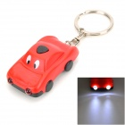 Mini Car Style Solar Powered 2-LED Flashlight Keychain - Red + Black
