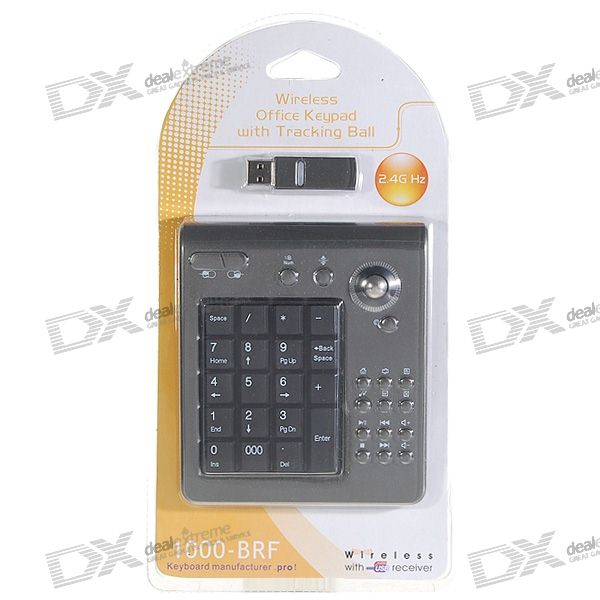 2.4GHz RF Wireless USB Numeric Keypad/Numpad with Multimedia Buttons and Trackball Mouse