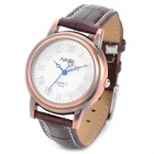 NARY 6032 Retro Style PU Lather Band Lady's Analog Quartz Wrist Watch - Red Copper (1 x 337A)