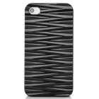 Protective Wave Pattern Back Case for Iphone 4 / 4S - Black