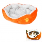 Pet Cat Dog Short Plush Warm Nest Bed - Orange