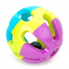 0050 Pet Dog Cat Plastic Ball Bell Toy - Purple + Yellow + Blue