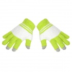 Fashion Plush Warmer Touch Screen Gloves for Women - Green + White (Pair)