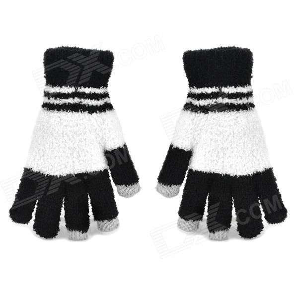 Fashion Plush Warmer Touch Screen Gloves for Women - Black + White (Pair) capacitive screen touching hand warmer imitative cashmere gloves for iphone ipad beige pair