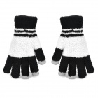 Fashion Plush Warmer Touch Screen Gloves for Women - Black + White (Pair)