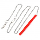 E3GF Pet Dog Chain Leash - Red + Silver