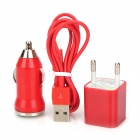 EPA-308 3-in-1 Car Cigarette Powered Charger + USB Data Cable + Adapter Set for iPhone 5 - Red