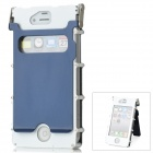 Protective Flip-Open Aluminum Alloy Case w/ Screen Guarder for iPhone 4 / 4S - Deep Blue + White