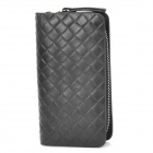 Plaiting Pattern Men's Cow Leather Zippered Key Wallet / Case - Black