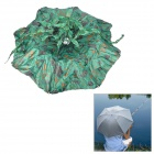 Double Folding Oxford Fishing Head-Wearing Umbrella Parasol / Hat w/ Strap - Green