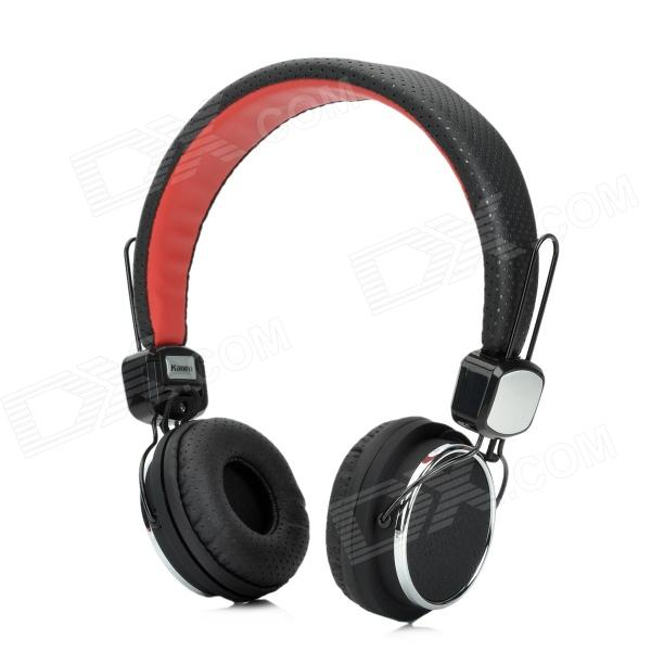 Kanen IP-850 Foldable Stereo Headphone w/ Microphone for Iphone + Ipad + More - Black + Red kanen ip 850 foldable headset headphone w microphone pink silver 3 5mm plug 153cm cable