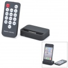 USB Charging Dock Station w/ 3.5MM Line Out + Remote Controller for iPhone 4 - Black