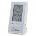 "HTC-90 Face Pattern 2.3"" LCD Smart Electronic Thermometer / Hygrometer for Baby Room - White"