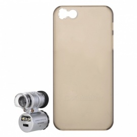 60X LED Micro Lens Microscope w/ Back Case for IPHONE 5 - Silver+Black