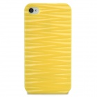 Protective Wave Pattern Back Case for iPhone 4 / 4S - Yellow