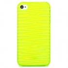 Protective Wave Pattern Back Case for Iphone 4 / 4S - Translucent Green