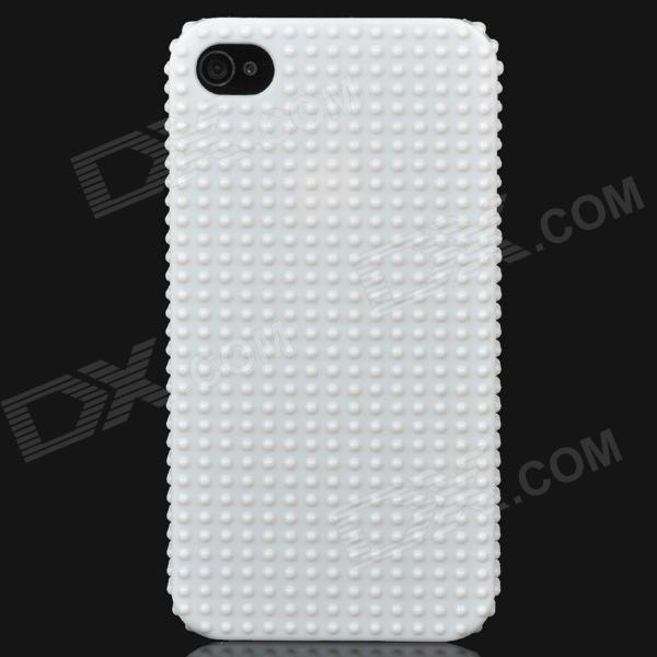 Protective 3D Non-Slip Dot Pattern Back Case for Iphone 4 / 4S - White