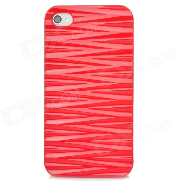 Protective Wave Pattern Back Case for Iphone 4 / 4S - Red