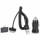 TANH-308 30pin to 8pin Lightning Adapter + Car Cigarette Powered Charger Cable for iPhone - Black