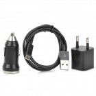 EPA-308 3-in-1 Auto Zigarette Powered Charger + USB-Datenkabel + Adapter für iPhone 5 Set - Schwarz