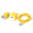 EPA-308 3-in-1 Auto Zigarette Powered Charger + USB-Datenkabel + Adapter für iPhone 5 Stellen - Yellow