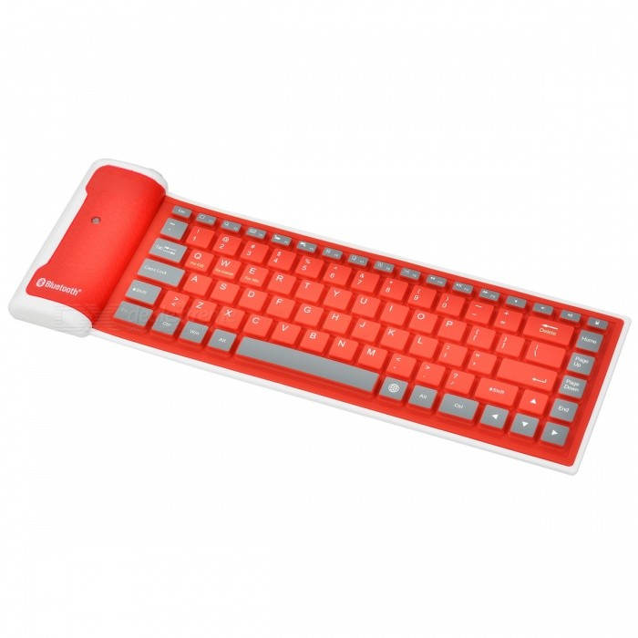 180mAh Bluetooth v3.0 Silicone 85-key Soft Keyboard for Ipad 1 / 2 / 3 / 4 - Red