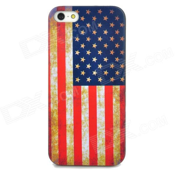 Protective Retro American Flag Pattern Back Case for Iphone 5 - Multicolored цена и фото