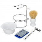 3-in-1 Man's Manual 2-Blade Single-Head Shaver Razor Set - White + Silver