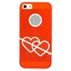 Protective Double Love Heart Pattern Back Case for iPhone 5 - Translucent Red