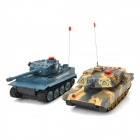 HuanQi 508 3-Channel IR R/C Remote Battle Tank Model Toy - Camouflage Yellow + Deep Grey (2 PCS)