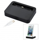 Data Sync / Charging Dock Station w/ Lightning 8-Pin Male to USB 2.0 Male Cable for iPhone 5 - Black