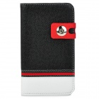 Protective PU Leather Cover PC Back Case w/ Card Slots for Samsung Galaxy Note 2 N7100 - Black