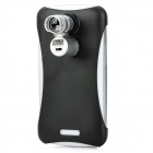 Mini 60X Microscope w/ 2-LED Illumination Light / Back Case for HTC One X - Silver (3 x LR1130)