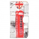 Flag of the United Kingdom Pattern Protective PU Leather Case for Iphone 5 - White + Red + Grey