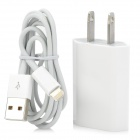 2-in-1 US Power Adapter + USB Charging Cable for iPhone 5 - White + Silver