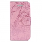 Tree Bark Pattern Protective PU Leather Cover PC Back Case Stand w/ Card slots for Iphone 5 - Pink