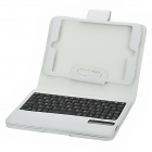 Lychee Pattern Protective Case w/ Removable Bluetooth Keyboard + Holder for Ipad MINI - White
