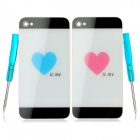Replacement Couple Back Case Modules w/ Tools for iPhone 4 - Black + White + Blue + Pink (2 PCS)