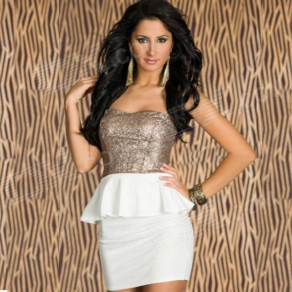 New Arrived Sophisticated Sequin Sexy Curve Fitting Cocktail Dress - White 10 pieces wholesale express reflective elastic webbing belt high visibility heat transfer tape for sports